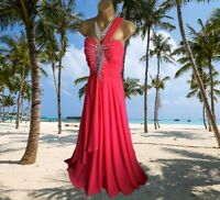 ** STUNNING** RED ONE SHOULDER EMBELLISHED  MAXI EVENING/CRUISE DRESS UK 14 16