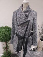 💖💜💖Atmosphere Herringbone /Faux Leather Wrap Coat 16 💖💜💖