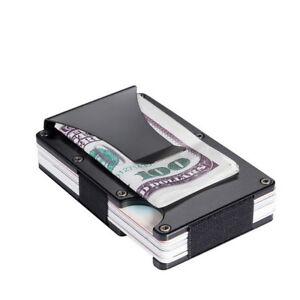Mens RFID Blocking Money Clip Credit Card Holder Metal Wallet Thin Minimalist