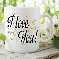 I Love You Mug Valentine's Day Anniversary Hearts Work Office Cup Gift WSDMUG440