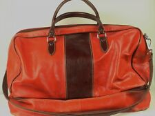 Gorgeous Red-Orange Leather Duffle Bag - Made In Italy - Excellent Condition!
