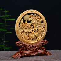 Chinese Box-wood carved Hollow Out Lotus Leaf Mandarin Duck Roundel Statue