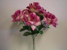 """2 Bushes MAUVE Open Rose Artificial Silk Flowers 15"""" Bouquet 7-039MV"""