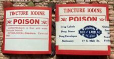 New listing Vintage Unopened Pack Tincture Iodine Poison Labels Apothecary Pharmacy + Origin
