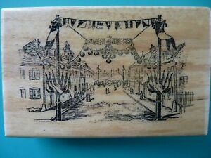 Vintage Village Street Scene-Circus Has Come To Town Rubber Stamp