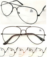 L3025B Classic Bifocal Specs Aviator Pilot Style Double Bridge Reading Glasses