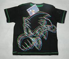 Sonic The Hedgehog Camiseta Negro Verde Rosa Azul Dibujo Imagen XS Edad 3-4 Nuevo