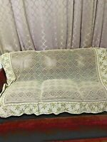 Vtg  handmade crochet 67X53 inches with embroidery bed cover tablecloth