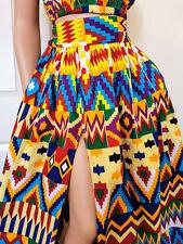 GAIA African Print Front Slit Full Length/Maxi Skirt 100% Wax Cotton Handmade UK