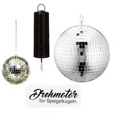 Spiegelkugel Discokugel Ø 20 / 13 cm Mirrorball silber Drehmotor Batteriebetrieb