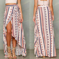 Womens Ladies Beach Holiday Casual Chiffon Floral Boho Maxi Dress Long Skirt