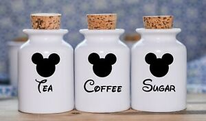 TEA COFFEE SUGAR JAR STICKER LABEL SET VINYL FOR KITCHEN CANNISTERS MICKEY MOUSE
