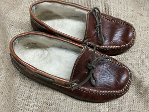 LL Bean Slippers Shoes US8M Men's Brown Leather Shearling Lined Moc Toe