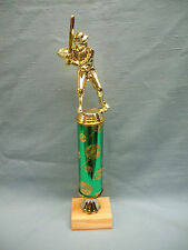 male Baseball trophiy award green theme column wood base