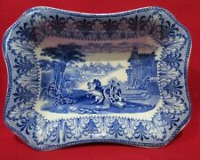 Cauldon Blue & White Chariot Small Dish 16cm by 11cm