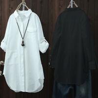 S-5XL ZANZEA Women's Casual Long Shirt Tops Asymmetrical Lapel Blouse Plus Size