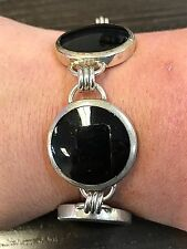 """Link Bracelet Toggle Clasp 8"""" Mexico 925 Sterling Silver Black Onyx"""