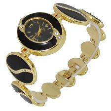 L2 Ladies Black Enamel Yellow Gold Tone Diamante Bracelet Wrist Watch
