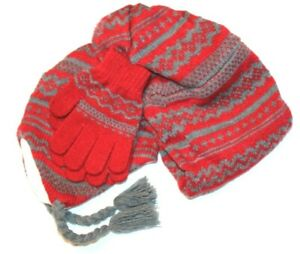 Basic Editions Girls' Fair Isle Winter Gloves, Beanie Hat, Scarf 3-pc Set - Red