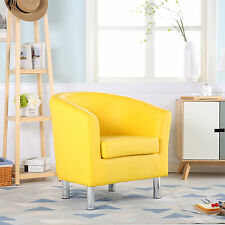 MODERN LEATHER TUB CHAIR ARMCHAIR DINING ROOM OFFICE RECEPTION YELLOW