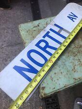 Vintage Street Sign North Av Metal Sign Blue And White