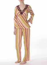 Divertimento Belgrade Striped Silk Long Pyjamas Small