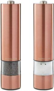 Salt and Pepper Mill Set Large Stainless Steel Electronic in Copper Andrew James