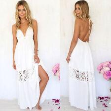 Women Summer Boho Long Maxi Evening Party Beach Dress Floral Sundress Backless S