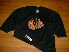 Vintage CCM Chicago Blackhawks Authentic Practice Jersey Black Fight-Strap Sz 46