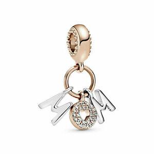Authentic  Pandora Rose Gold Silver ALE S925 Mum Letters Dangle Charm  788828C01