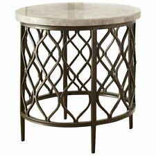 Steve Silver Roland Round White Stone Top with Bronze Metal Base End Table
