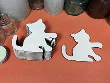 WOODEN CAT KITTY Shapes 8.3cm (x10) laser cut wood cutouts crafts blank shape
