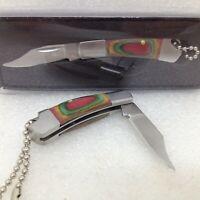 Folding Pocket Knife Keychain Stainless Steel Blade Pakka Wood Handle NEW 210876