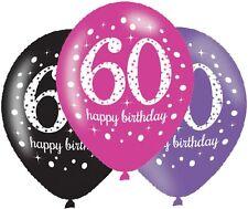 "60th Birthday 11"" Latex Balloons Black Pink Purple Pack of 6"