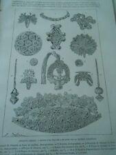 Antiquité Grecque Bijoux d'or Docteur Schliemann Gravure Antique Print 1888