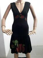 Vestito DESIGUAL Donna Dress Woman Veste Femme Taglia size S Cotone Nero 8529