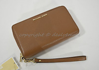 NWT Michael Kors Adele Large Flat Phone Leather Wallet/Wristlet in Luggage Brown