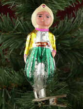 Vtg Russian Soviet mercury glass Christmas xmas tree ALLADIN ornament on Clip