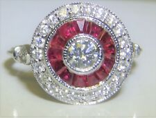18CT WHITE GOLD RUBY 0.35CT DIAMOND HALO CLUSTER ENGAGEMENT RING