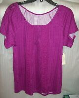 WOMENS ST JOHNS BAY PEASANT TOP GRAPE JUICE SIZE MEDIUM NEW WITH TAGS MSRP$26