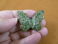 (Y-But-571) Olive green Butterfly stone figurine gemstone carving butterflies