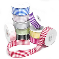 Gingham Ribbon With Woven Edge 10 15 & 26mm x 10m Choose Your Colour + Width
