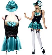 Adult Women Green Mad Hatter Uniform Costume Halloween Fancy Outfit Dress Set