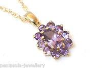 9ct Gold Amethyst Cluster Pendant and Chain Made in UK Gift Boxed Necklace