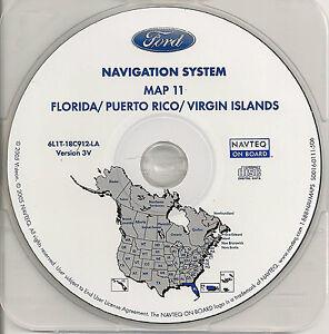2005 2006 2007 Ford Escape Hybrid Navigation CD Map Coverage FLorida Puerto Rico