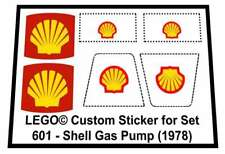 Lego® Custom Sticker for Classic Town Gas Station 601 - Shell Gas Pump (1978)