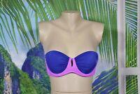 VICTORIA'S SECRET Navy Blue Orchid Strapless Push Up Bikini Swim Top 34B Keyhole