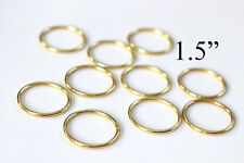 "1.5"" Macrame Ring PACK of 10 Metal Ring Hoop Brass, Gold Toned"