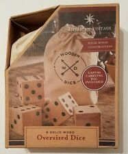 American Vintage 5 Solid Wood Oversized Dice Jumbo Dice with Canvas Carrying Bag
