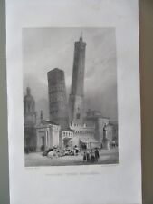 GRAVURE 1856 ITALIE BOLOGNE TOURS PENCHÉES
